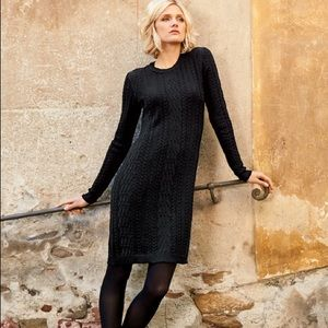 Peruvian Connection Hannah cabled black dress